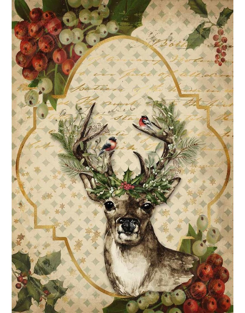 Decoupage Queen Christmas Reindeer A4