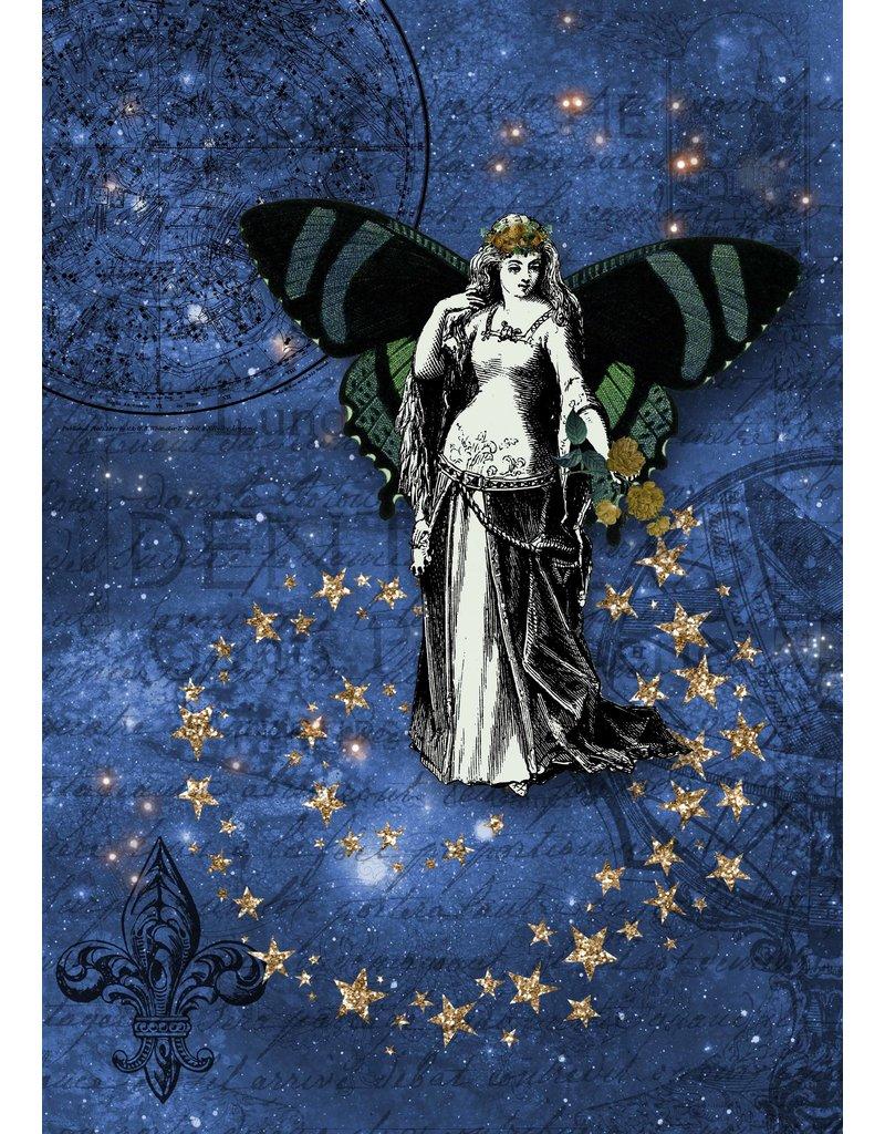 Decoupage Queen Blue Cosmic Fairy A4