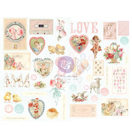 Prima Marketing Magic Love Collection Chipboard Stickers - 44 pcs w/ foil details / chipboard stickers