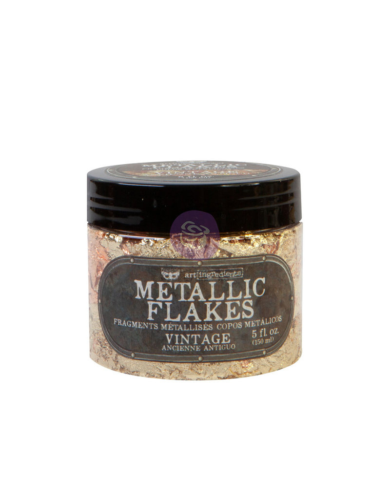 Prima Marketing Art Ingredients - Metal Flakes - Vintage - 1 jar, total weight 30g including container / foil
