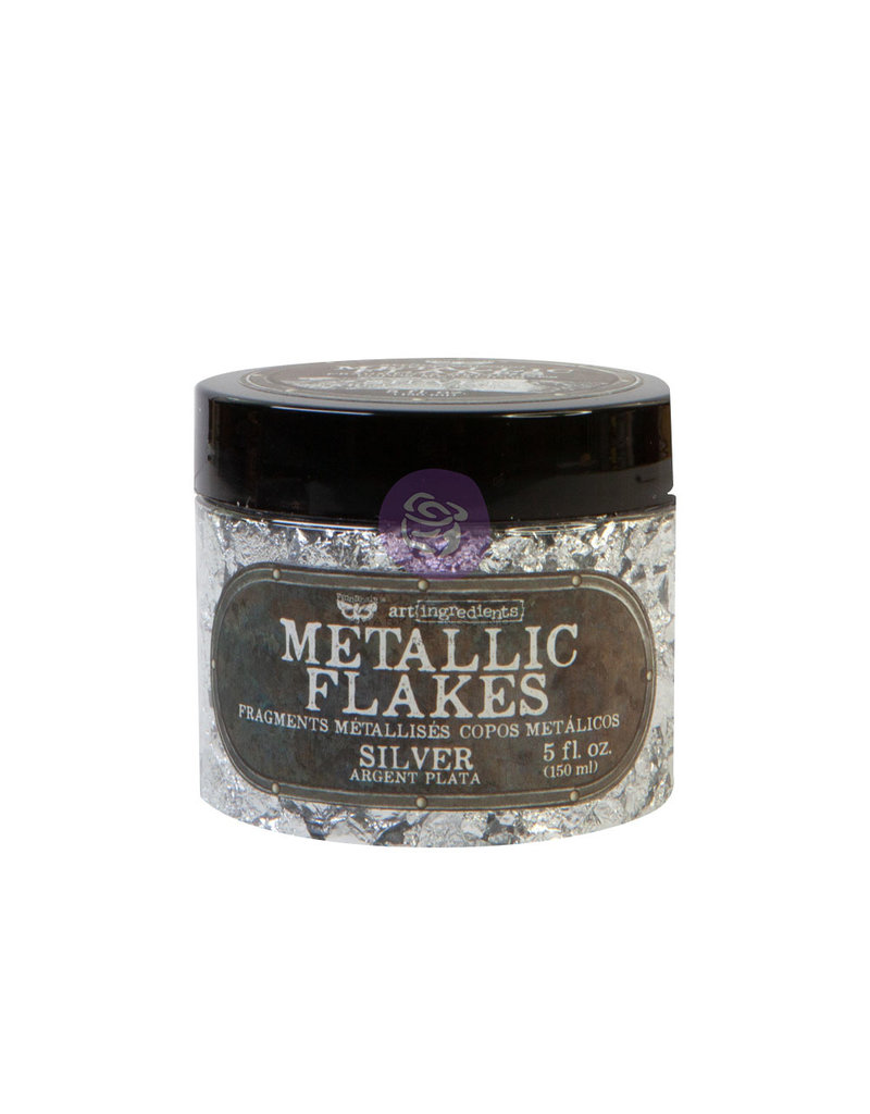 Prima Marketing Art Ingredients - Metal Flakes - Silver - 1 jar, total weight 30g including container / foil