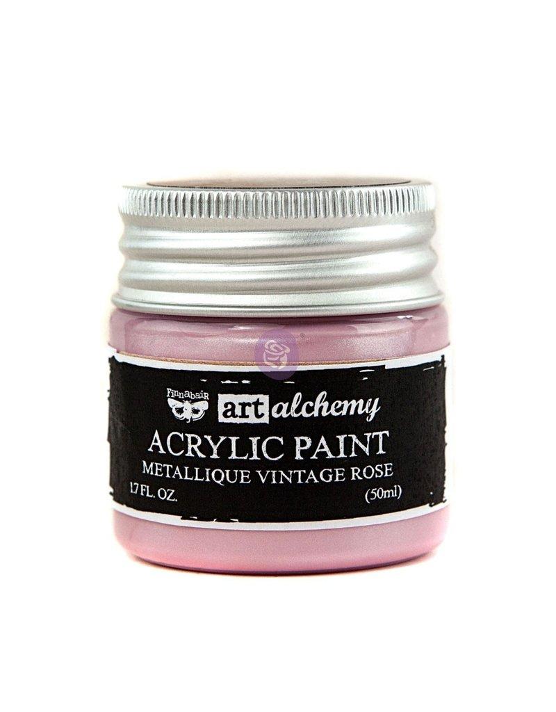 Prima Marketing Art Alchemy-Acrylic Paint-Metallique Vintage Rose 1.7oz / acrylic paint
