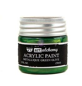 Prima Marketing Art Alchemy-Acrylic Paint-Metallique Green Olive 1.7oz / acrylic paint