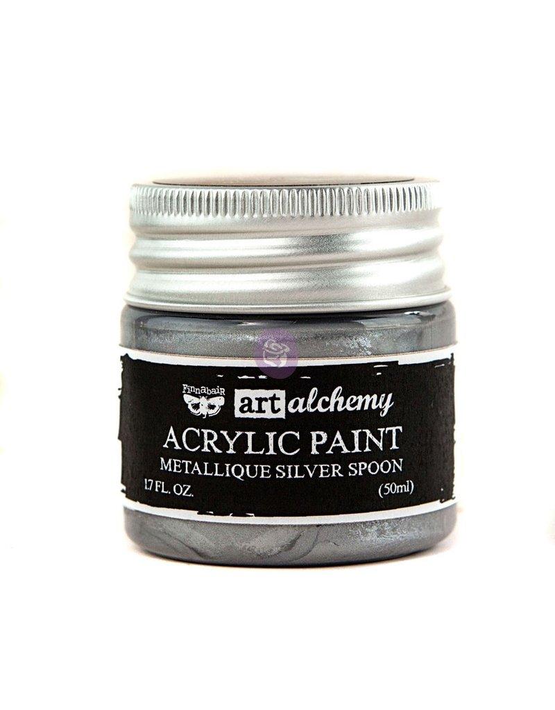 Prima Marketing Art Alchemy-Acrylic Paint-Metallique Silver Spoon 1.7oz / acrylic paint