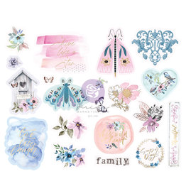 Prima Marketing Watercolor Floral Collection Chipboard Stickers - 20 pcs w/ foil details / chipboard stickers