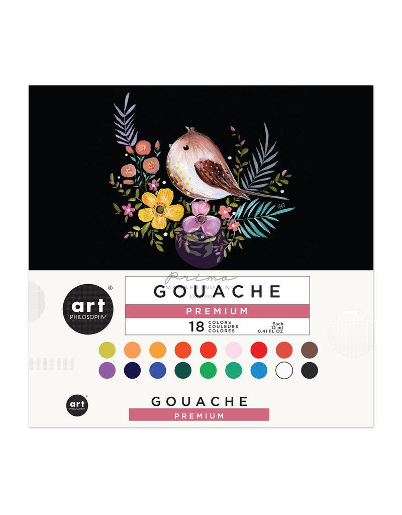 Prima Marketing Art Philosophy Gouache Set - 18 colors x 12 ml (0.41 fl oz) tube / opaque watercolors