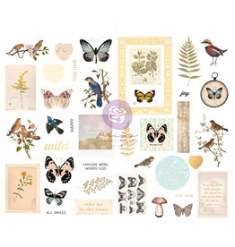 Prima Marketing Nature Lover Collection Chipboard Stickers - 39 pcs w/ foil details / chipboard stickers