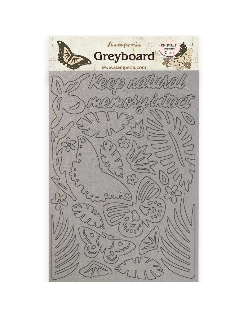 Stamperia A4 Greyboard /2 mm - Amazonia butterflies