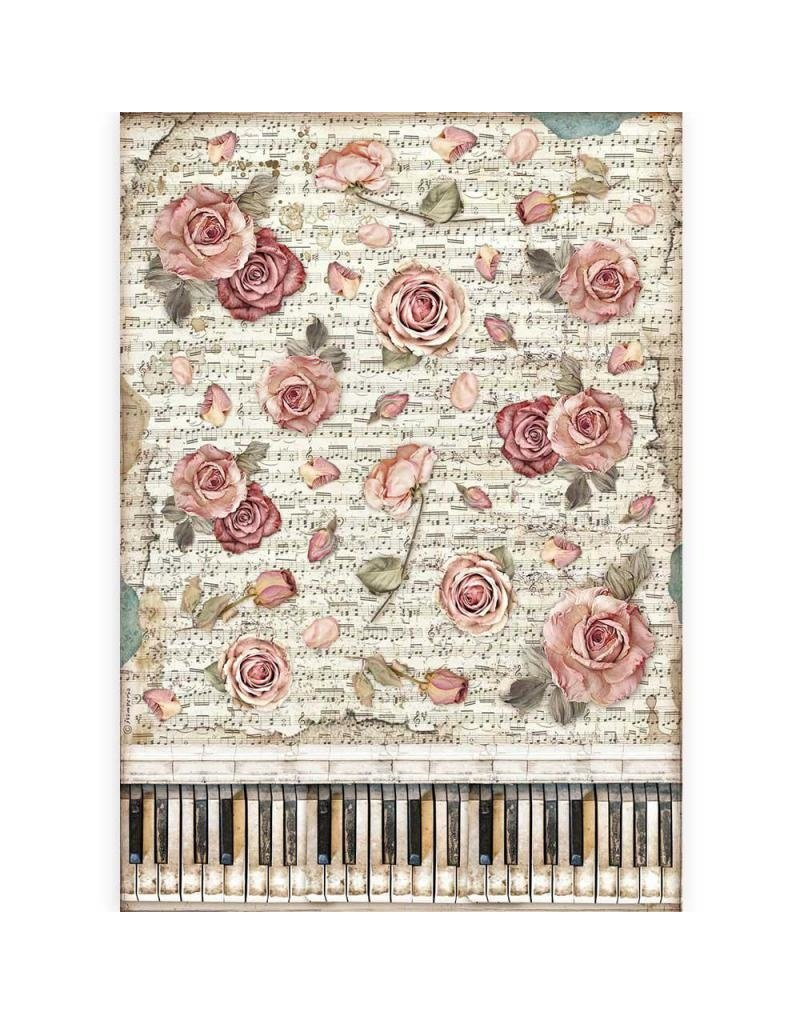 Stamperia A3 Rice paper packed - Passion roses and piano