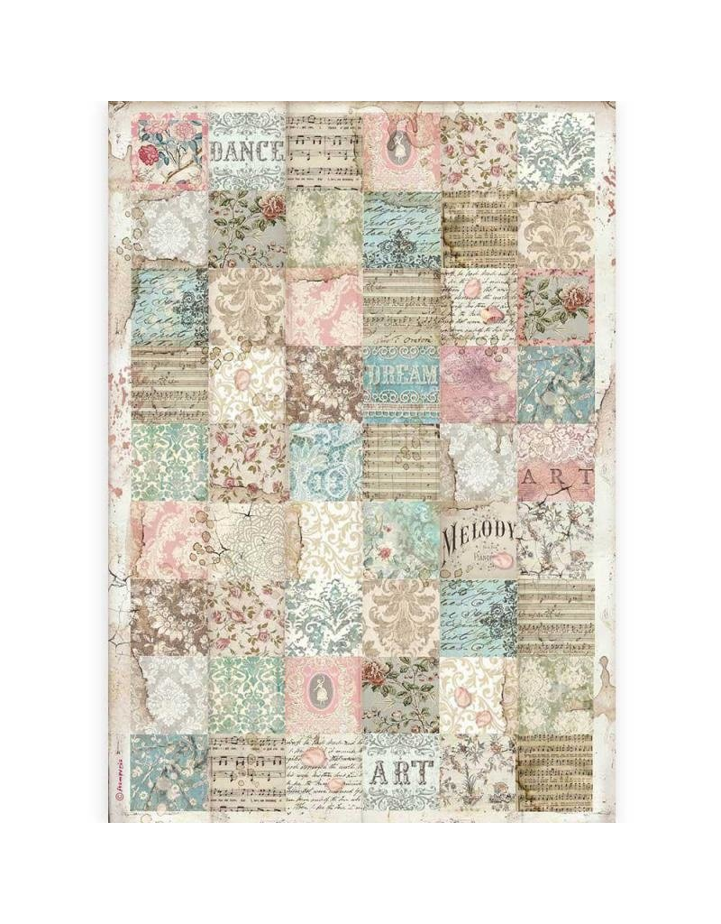 Stamperia A3 Rice paper packed - Passion patchwork