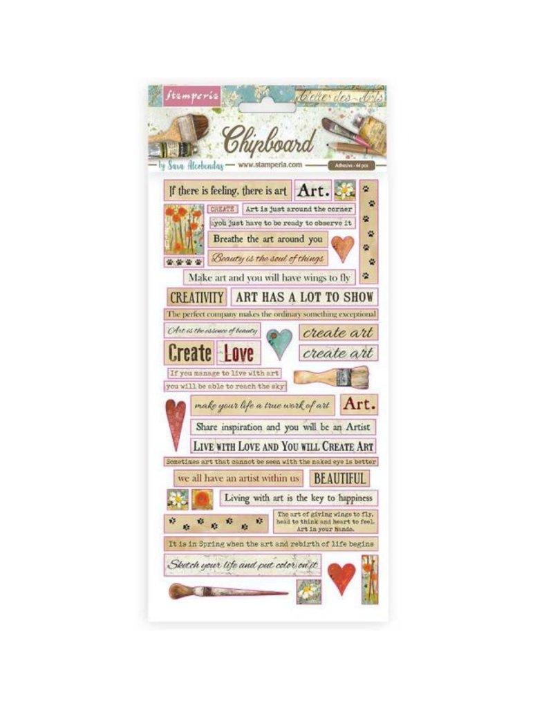 Stamperia Chipboard cm 15x30 - Atelier quotes