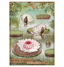 Stamperia A4 Rice paper packed - Amazonia water lily