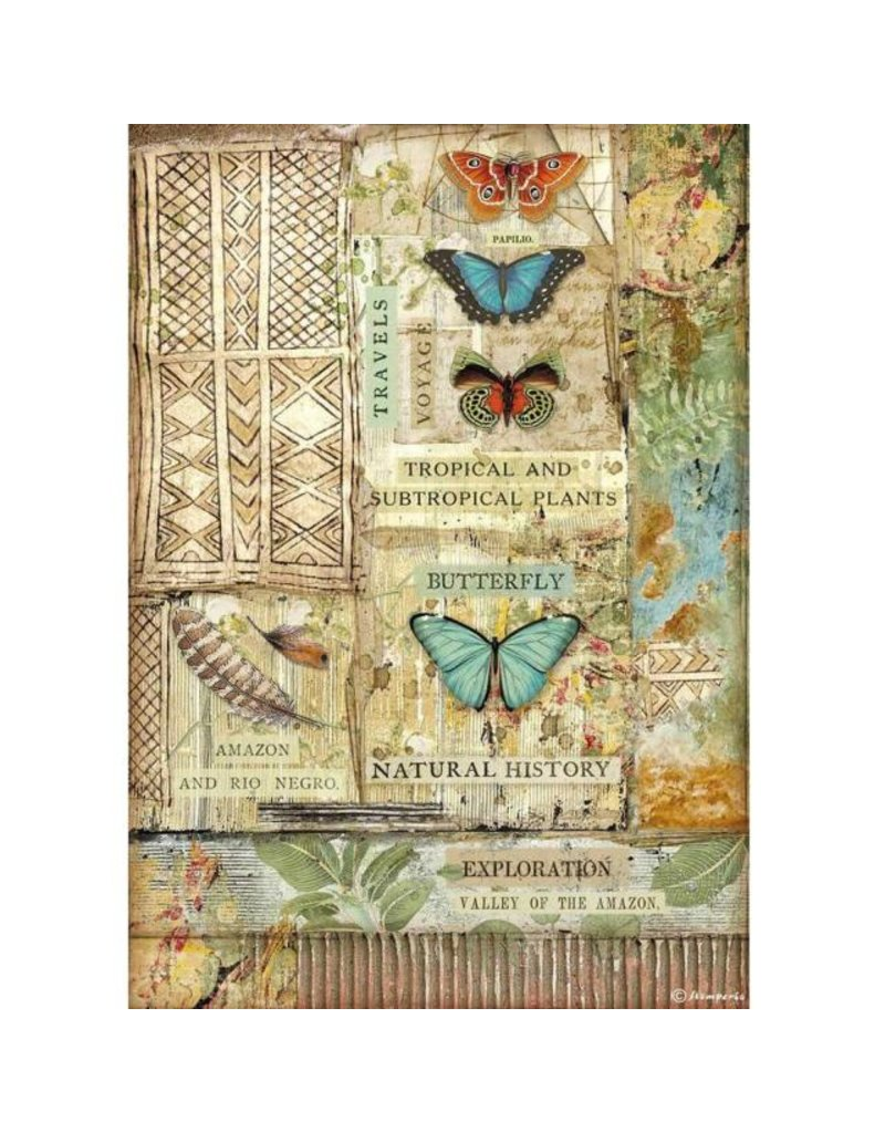 Stamperia A4 Rice paper packed - Amazonia butterfly