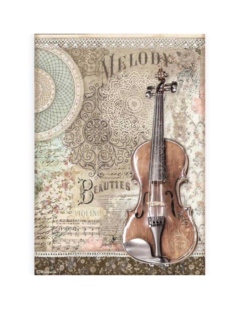 Stamperia A4 Rice paper packed - Passion violin