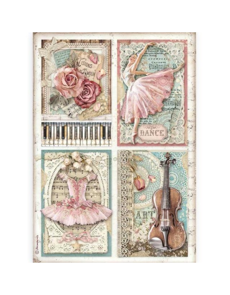 Stamperia A4 Rice paper packed - Passion cards
