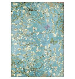 Stamperia A4 Rice paper packed - Atelier Blossom blue background with butterfly