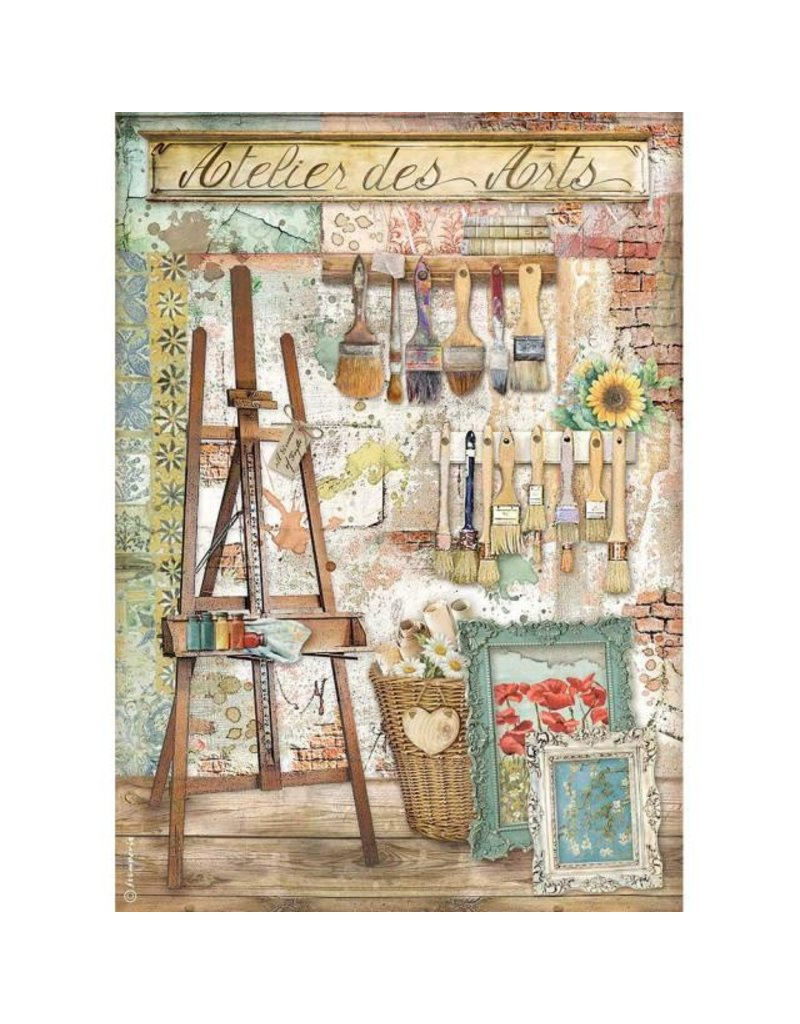 Stamperia A4 Rice paper packed - Atelier Atelier des Arts easel