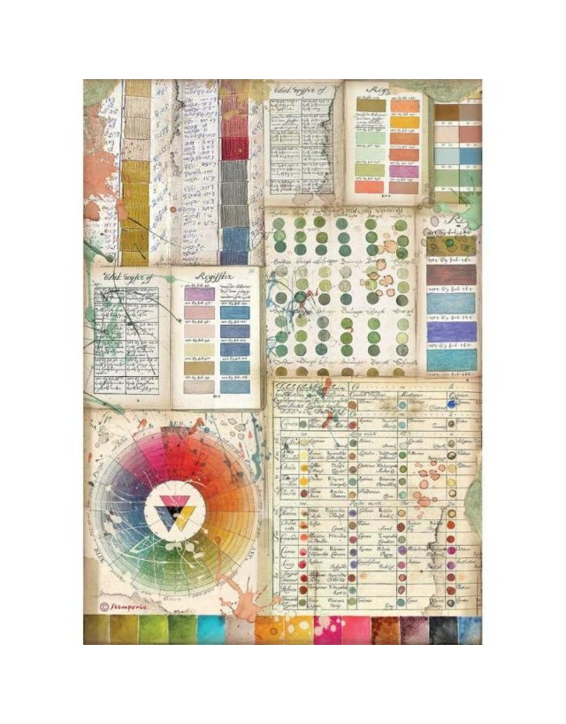 Stamperia A4 Rice paper packed - Atelier Pantone charts