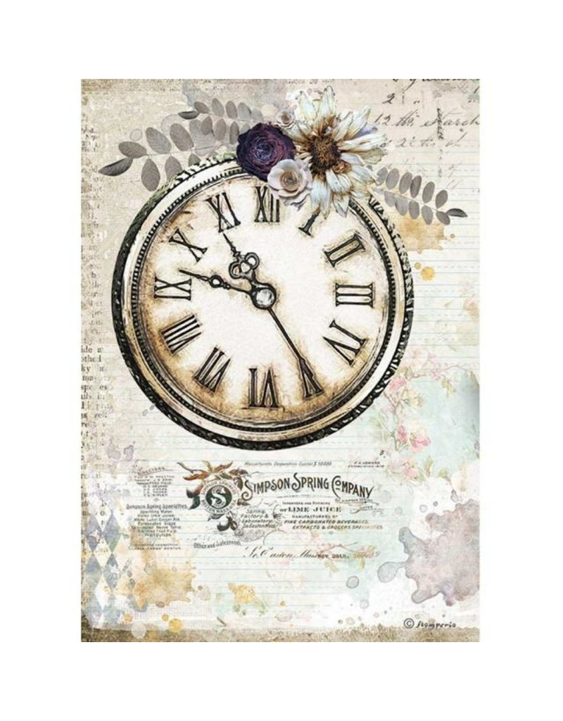 Stamperia A4 Rice paper packed - Romantic Journal clock