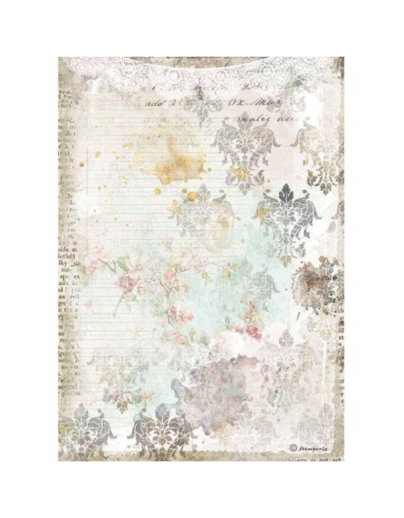 Stamperia A4 Rice paper packed - Romantic Journal texture with lace