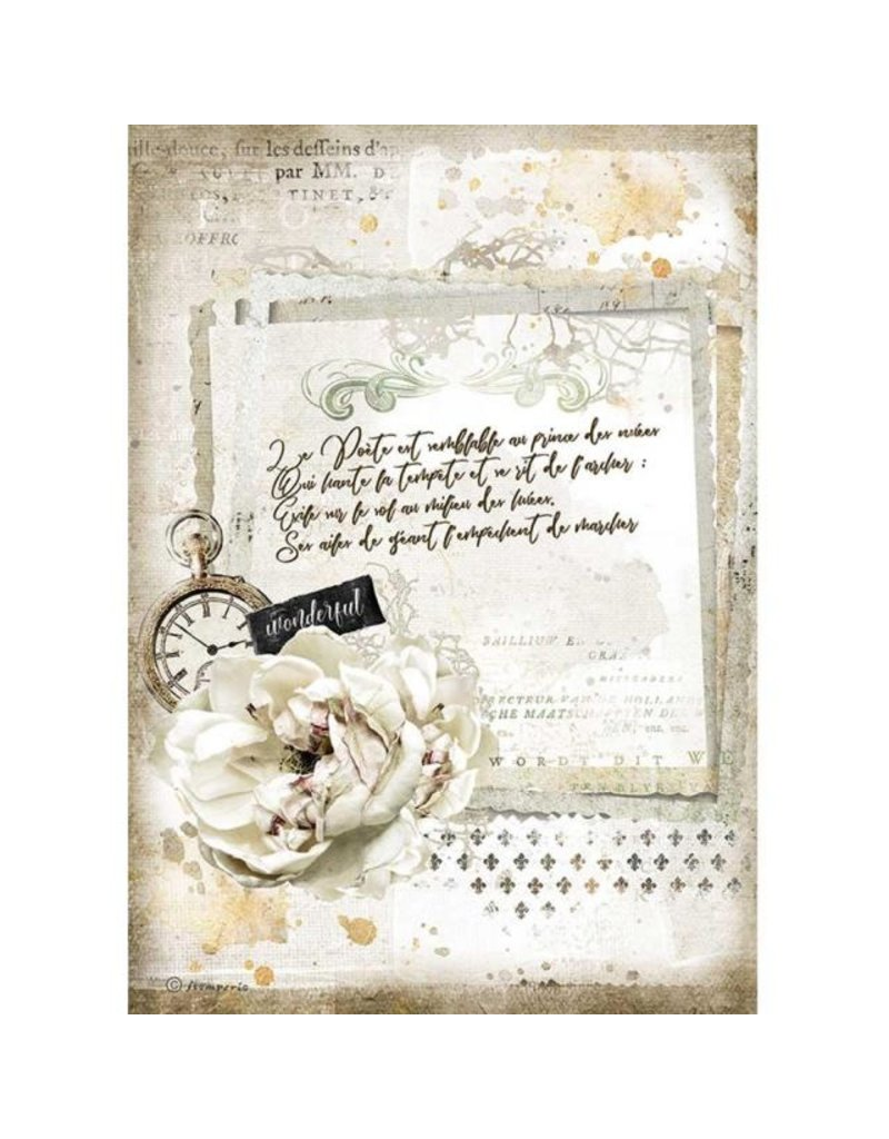 Stamperia A4 Rice paper packed - Romantic Journal manuscript and clock