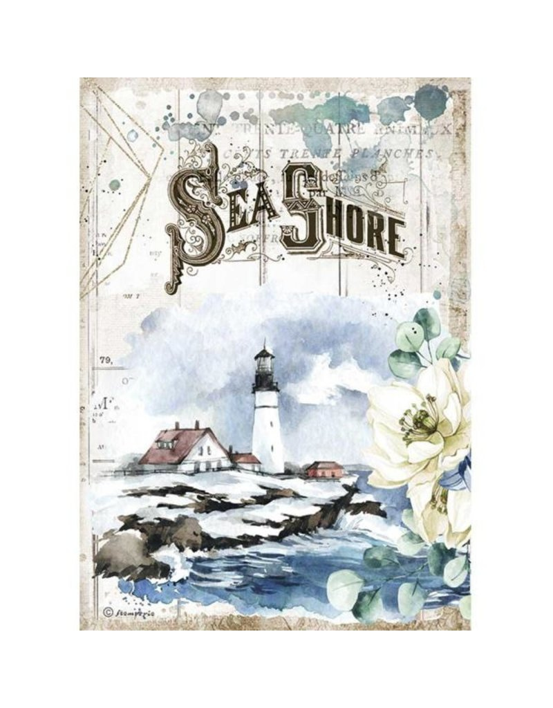 Stamperia A4 Rice paper packed - Romantic Sea Dream Sea Shore