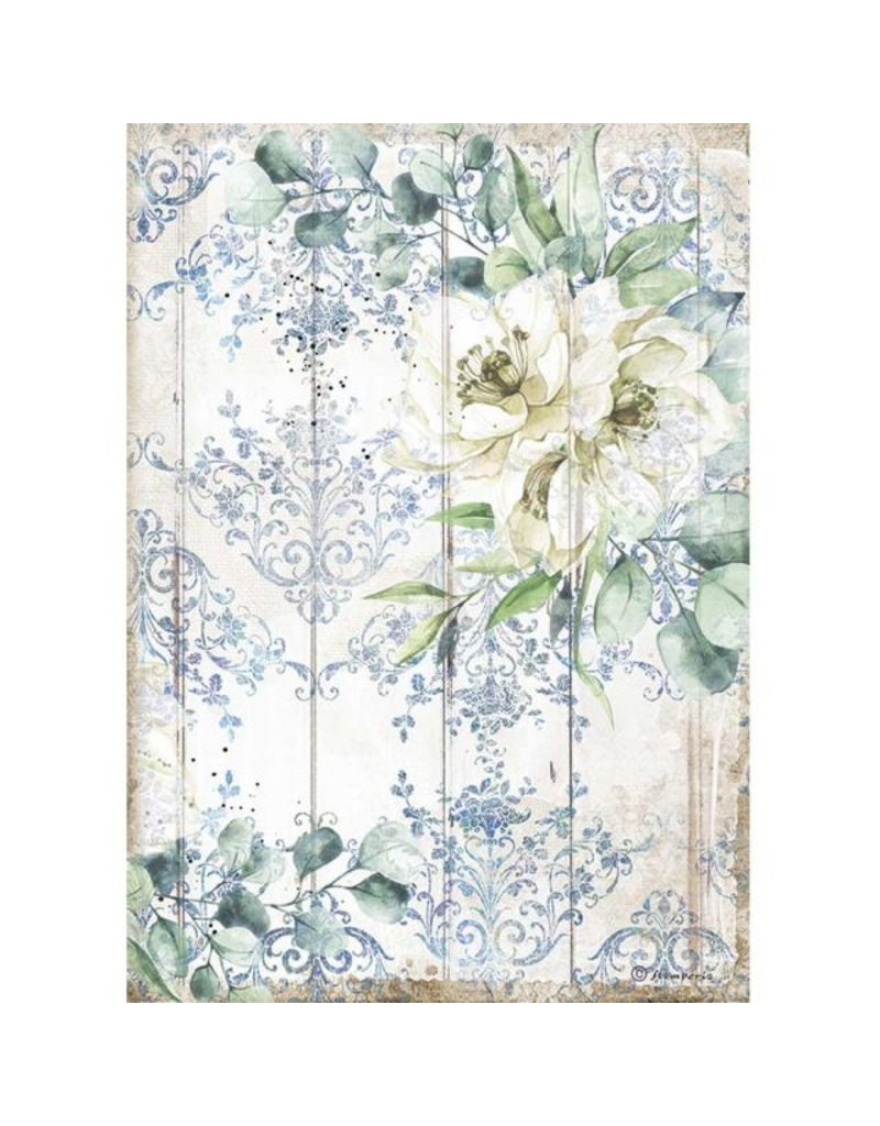 Stamperia A4 Rice paper packed - Romantic Sea Dream white flower