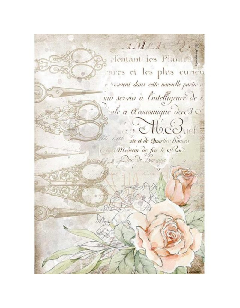 Stamperia A4 Rice paper packed - Romantic Threads scissors and roses