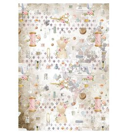 Stamperia A4 Rice paper packed - Romantic Threads embellishment