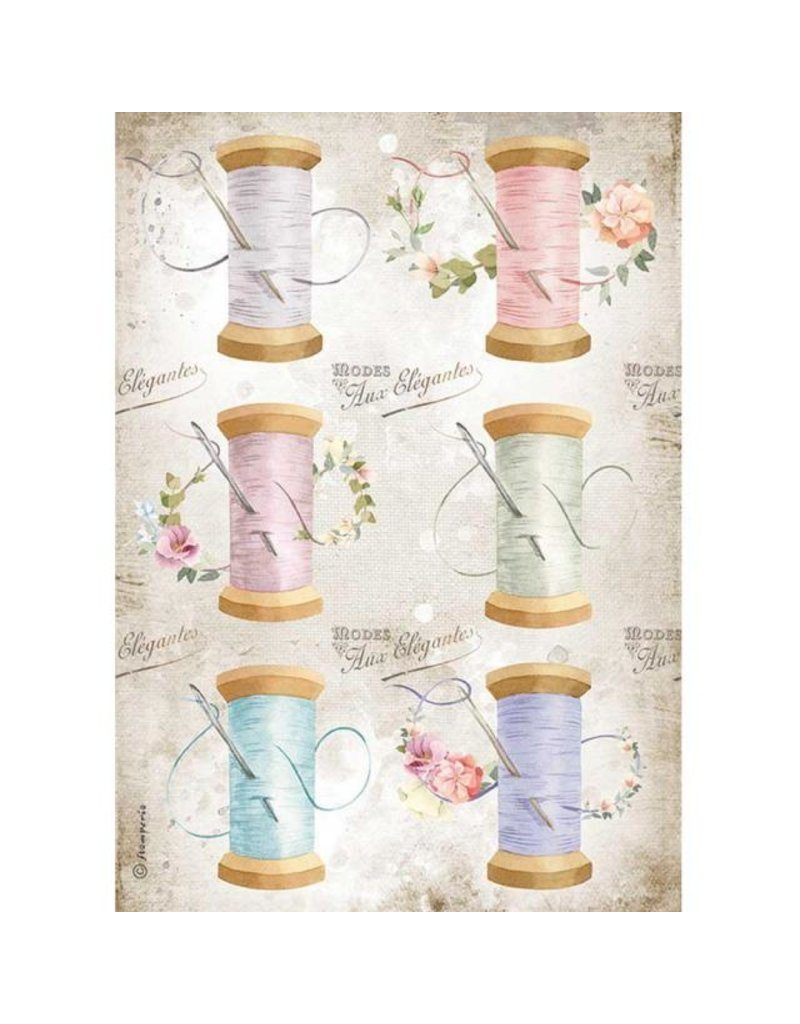Stamperia A4 Rice paper packed - Romantic Threads needle & thread