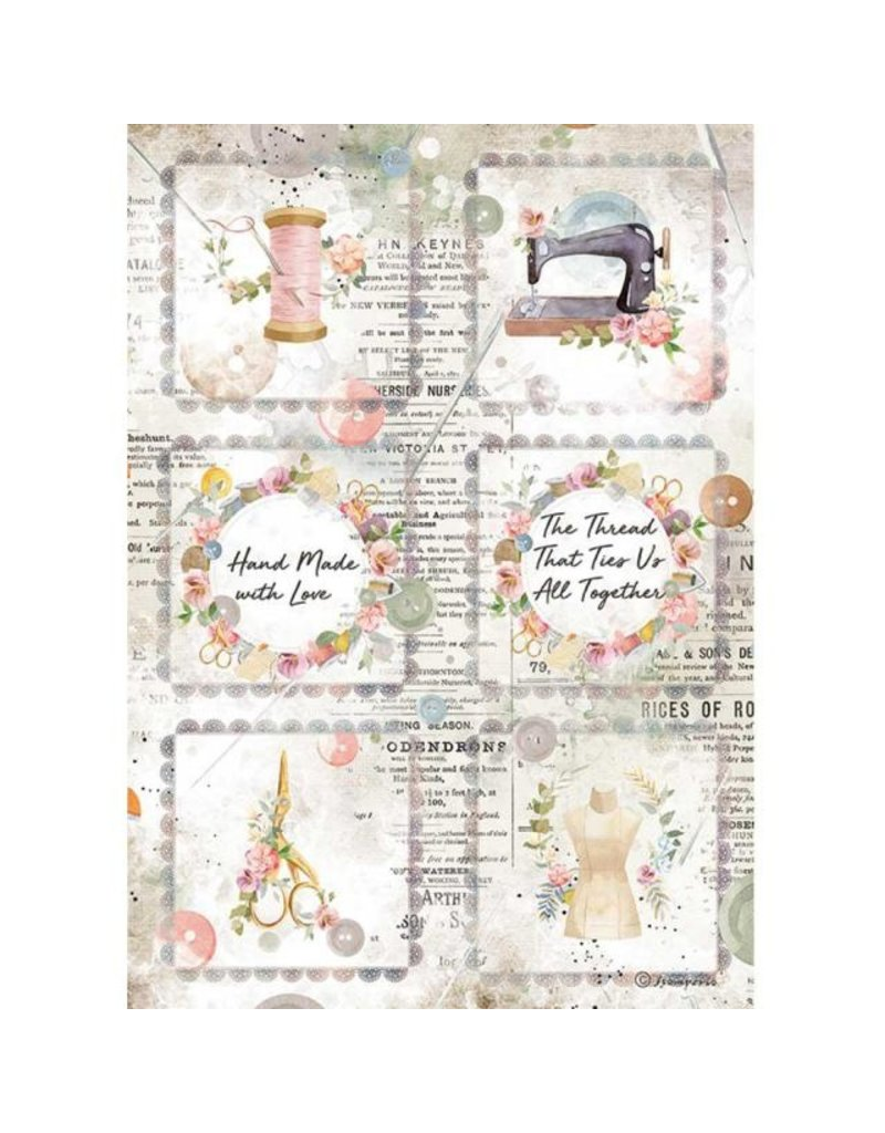 Stamperia A4 Rice paper packed - Romantic Threads mini cards