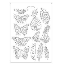 Stamperia Soft Mould A4 - Amazonia leaves and butterflies