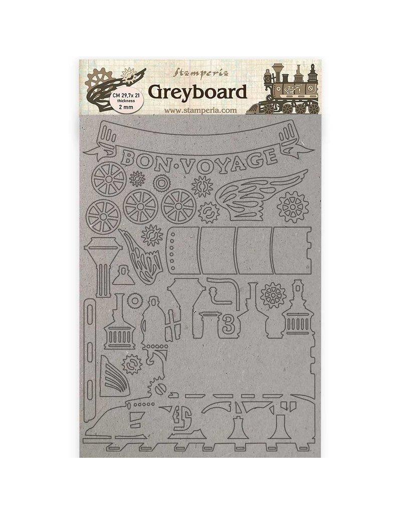 Stamperia A4 Greyboard /2 mm - Train