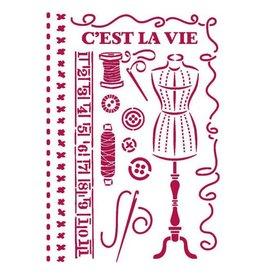 Stamperia Stencil G 21x29,7 cm - Romantic Threads couture