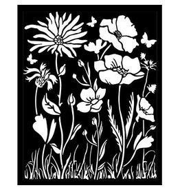 Stamperia Thick Stencil 20x25 cm - Atelier poppy and flower
