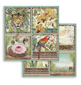 Stamperia Scrapbooking paper double face - Amazonia square tags