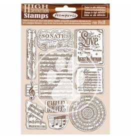 Stamperia HD Natural Rubber Stamp 14x18 cm - Passion music