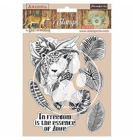 Stamperia HD Natural Rubber Stamp 14x18 cm - Amazonia jaguar