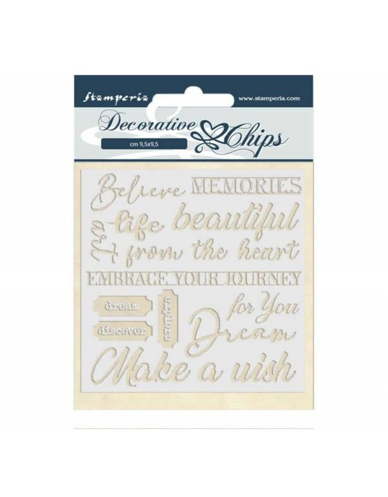 Stamperia Decorative chips 14x14 cm Atelier des Arts quotes
