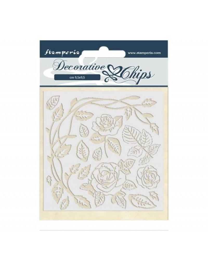 Stamperia Decorative chips 14x14 cm Passion roses