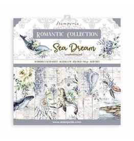 "Stamperia Scrapbooking Mini Pad 10 sheets - 20.3X20.3 (8""X8"") - Romantic Sea Dream"