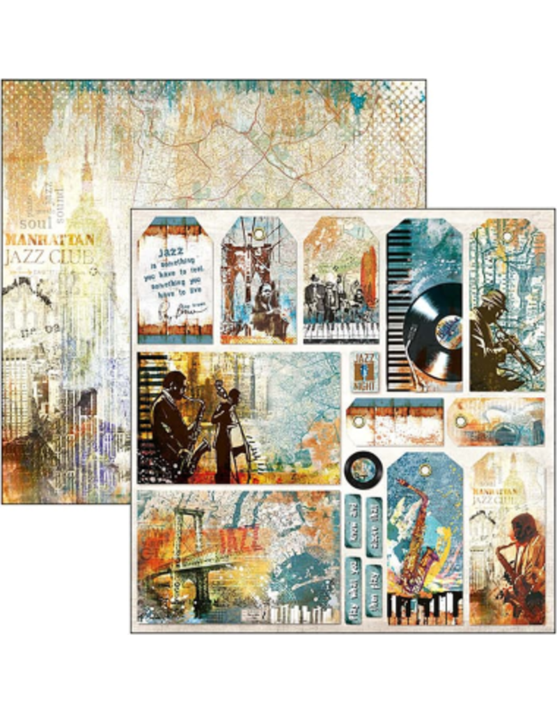 """Ciao Bella Blue Note Cards & Tags Paper Sheet 12""""x12"""""""