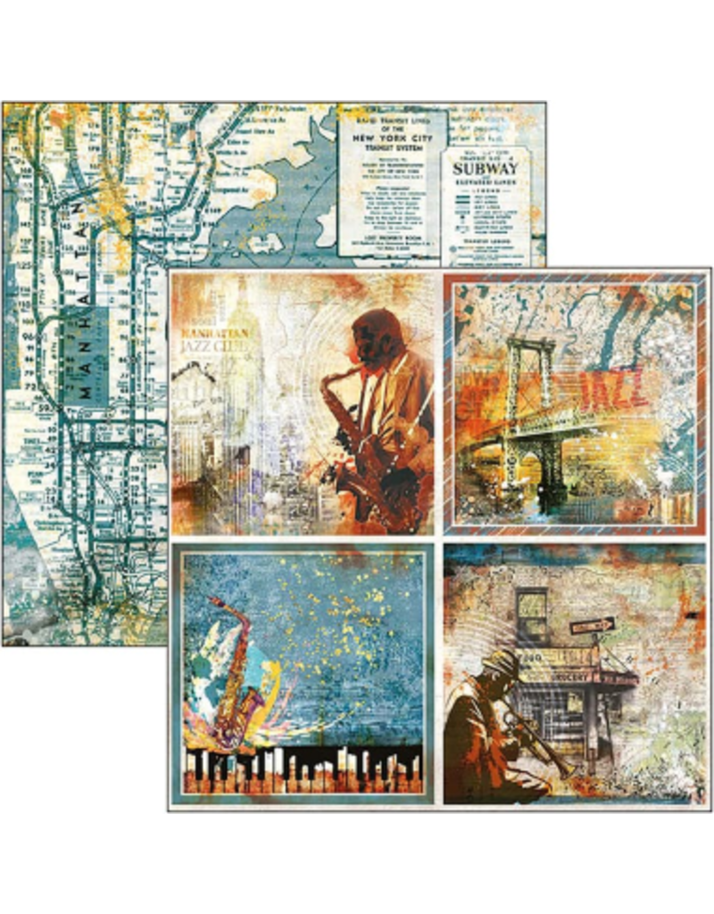 """Ciao Bella Blue Note Cards Paper Sheet 12""""x12"""""""