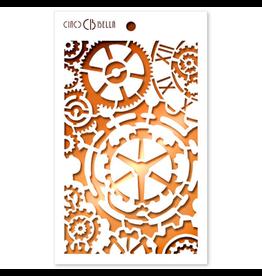"""Ciao Bella Texture Stencil 5""""x8"""" Gears"""