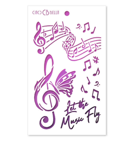 """Ciao Bella Texture Stencil 5""""x8"""" Let the Music Fly"""