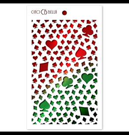 "Ciao Bella Texture Stencil 5""x8"" Card Suits"