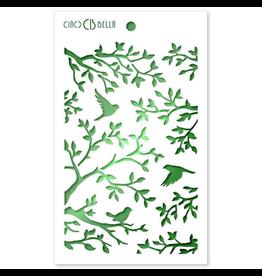 """Ciao Bella Texture Stencil 5""""x8"""" Three Birds"""