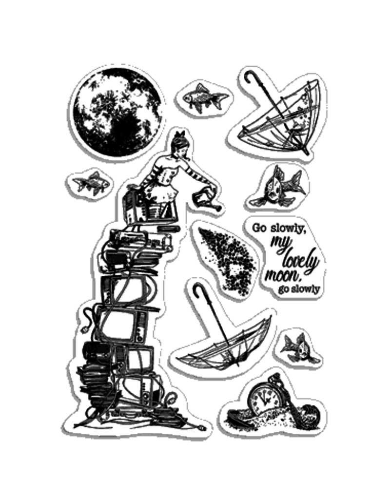 """Ciao Bella Clear Stamp Set 4""""x6"""" Go slowly lovely moon"""