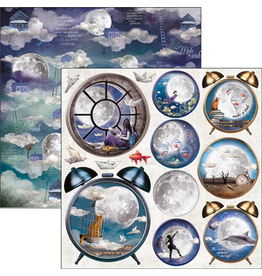 """Ciao Bella Moon & Me Alarm Clock Paper Sheet 12""""x12"""""""