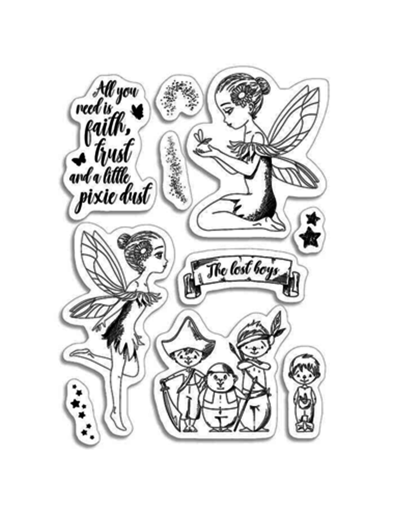 """Ciao Bella Clear Stamp Set 4""""x6"""" Tinker Bell & The Lost Boys"""